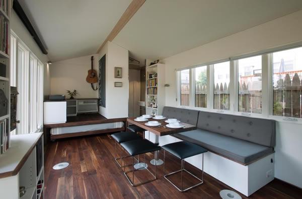 Minim House interior with hidden bed